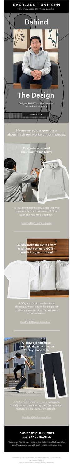 Everlane behind-the-scenes email