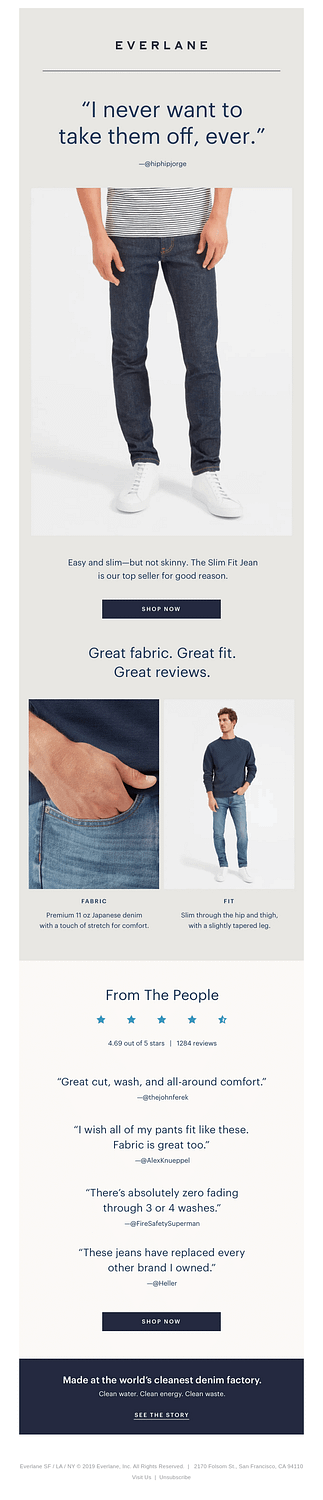 Everlane customer quotes email