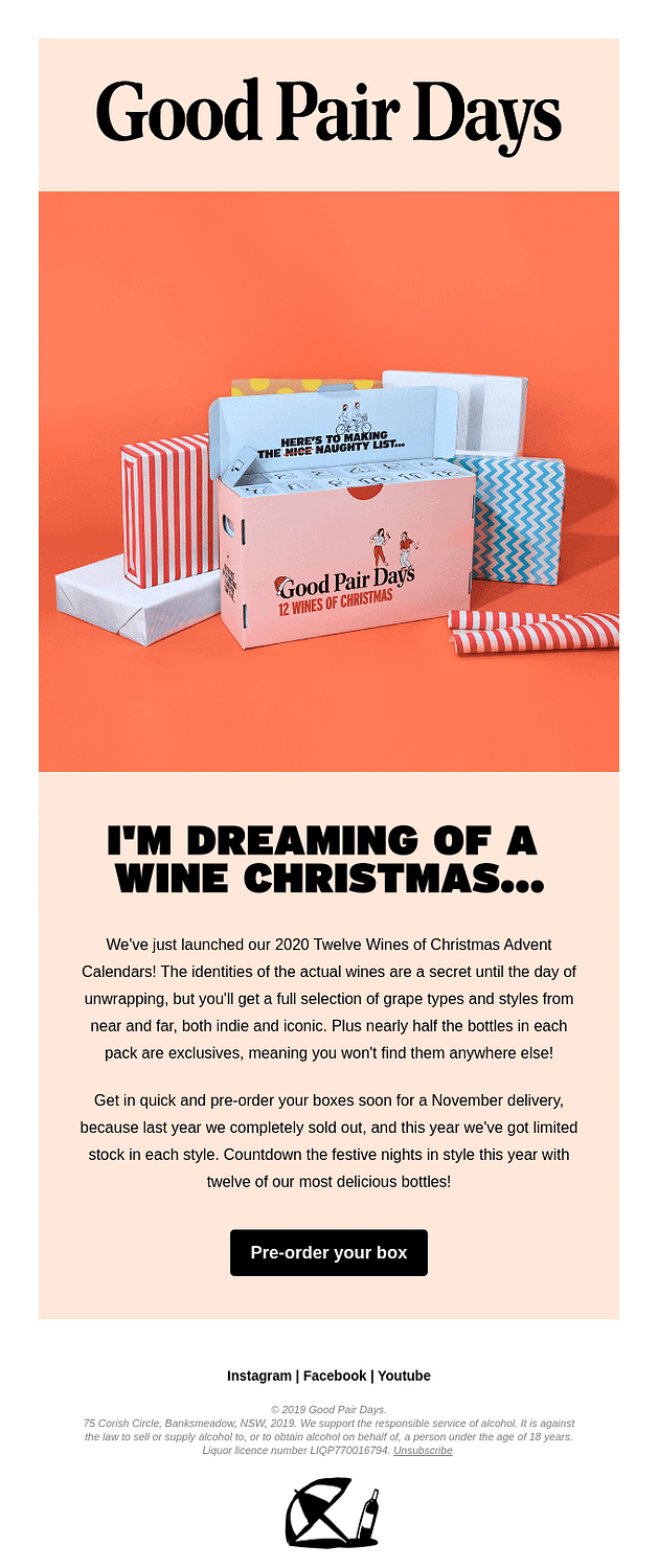 Good Pair Days holiday promotion email