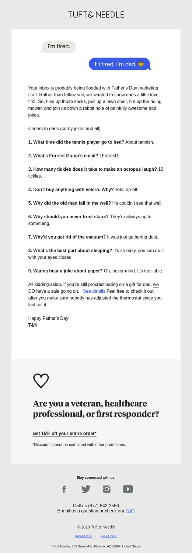 Tuft & Needle humor email